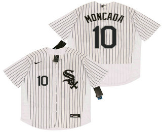 Men's Chicago White Sox #10 Yoan Moncada White Pinstripe Stitched MLB Flex Base Nike Jersey