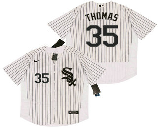 Men's Chicago White Sox #35 Frank Thomas White Pinstripe Stitched MLB Flex Base Nike Jersey