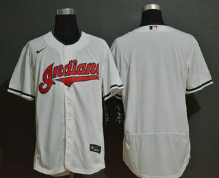 Men's Cleveland Indians Blank White Stitched MLB Flex Base Nike Jersey