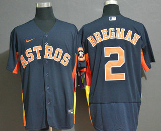 Men's Houston Astros #2 Alex Bregman Navy Blue Stitched MLB Flex Base Nike Jersey