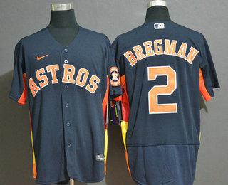 Men's Houston Astros #2 Alex Bregman Navy Blue Stitched MLB Flex Base Nike Jersey
