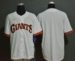Men's San Francisco Giants Blank White Throwback Cooperstown Stitched MLB Cool Base Nike Jersey