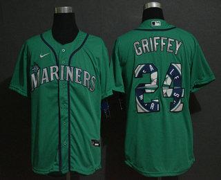 Men's Seattle Mariners #24 Ken Griffey Jr. Teal Green Team Logo Stitched MLB Cool Base Nike Jersey