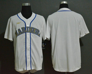 Men's Seattle Mariners Blank White Throwback Cooperstown Stitched MLB Cool Base Nike Jersey