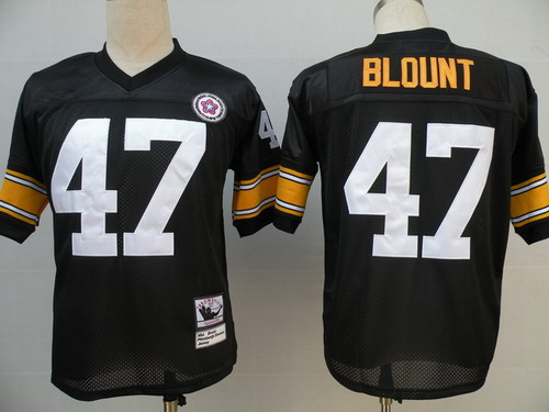 Size XXXXL Pittsburgh Steelers #47 Mel Blount Black Throwback Jersey