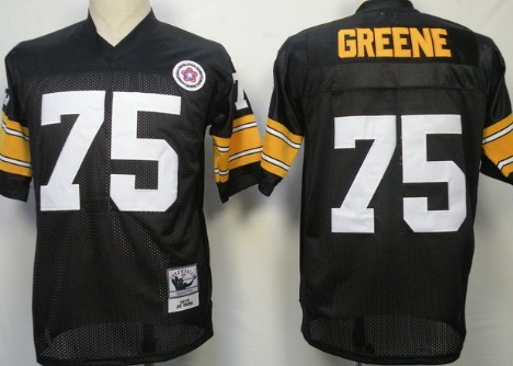 Size XXXXL Pittsburgh Steelers #75 Joe Greene Black Throwback Jersey
