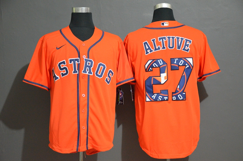 Men's Houston Astros #27 Jose Altuve Orange Team Logo Stitched MLB Cool Base Nike Jersey