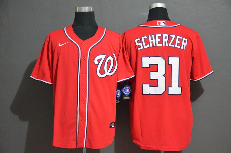 Men's Washington Nationals #31 Max Scherzer Red Stitched MLB Cool Base Nike Jersey
