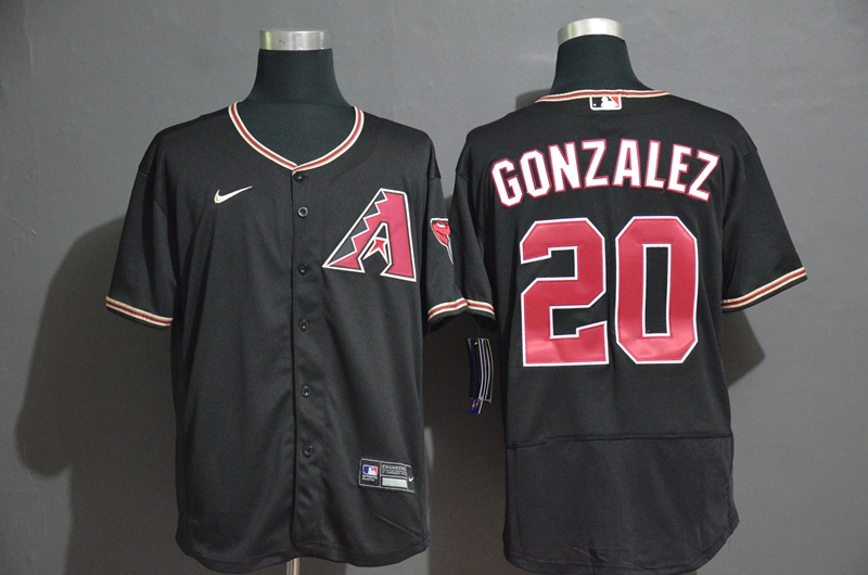 Men's Arizona Diamondback #20 Luis Gonzalez Black Stitched Nike MLB Flex Base Jersey