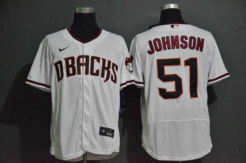 Men's Arizona Diamondbacks #51 Randy Johnson White Stitched Nike MLB Flex Base Jersey