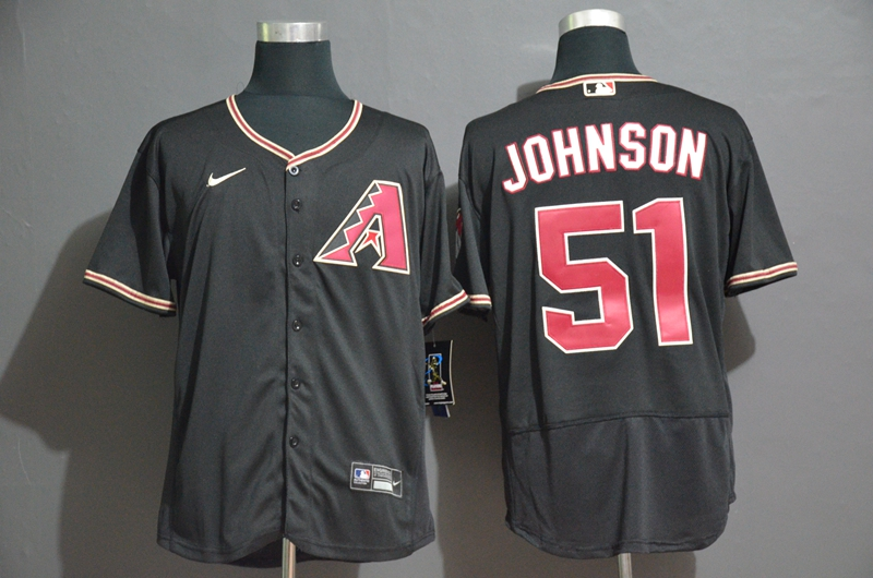 Men's Arizona Diamondbacks #51 Randy Johnson Black Stitched Nike MLB Flex Base Jersey