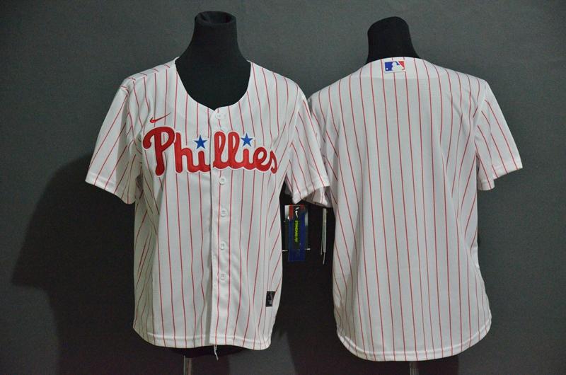 Youth Philadelphia Phillies Blank White Stitched MLB Cool Base Nike Jersey