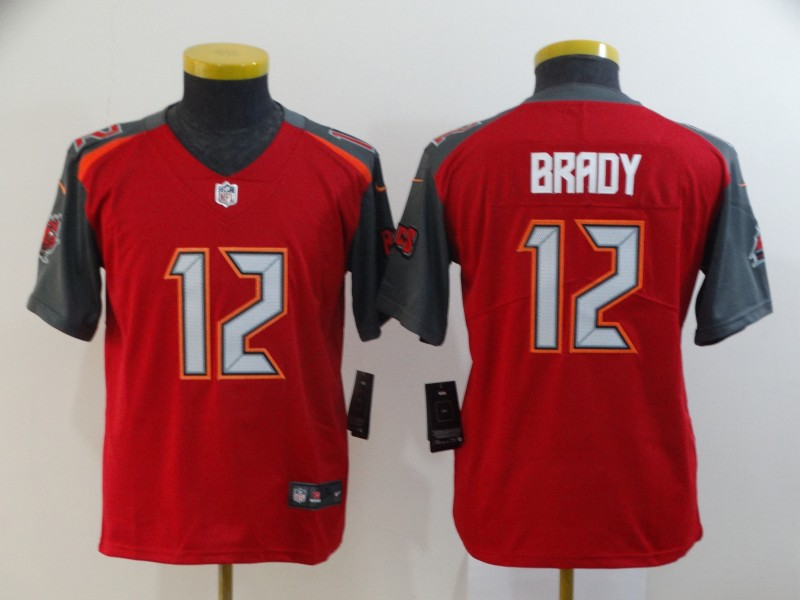 Youth Tampa Bay Buccaneers #12 Tom Brady Red 2020 Vapor Untouchable Stitched NFL Nike Limited Jersey