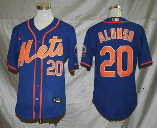 Men's New York Mets #20 Pete Alonso Blue Stitched MLB Flex Base Nike Jersey