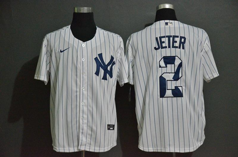 Men's New York Yankees #2 Derek Jeter White Team Logo Stitched MLB Cool Base Nike Jersey