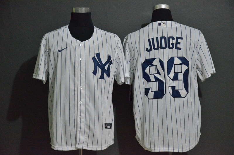Men's New York Yankees #99 Aaron Judge White Team Logo Stitched MLB Cool Base Nike Jersey