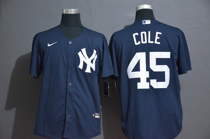 Men's New York Yankees #45 Gerrit Cole Navy Blue Stitched MLB Cool Base Nike Jersey