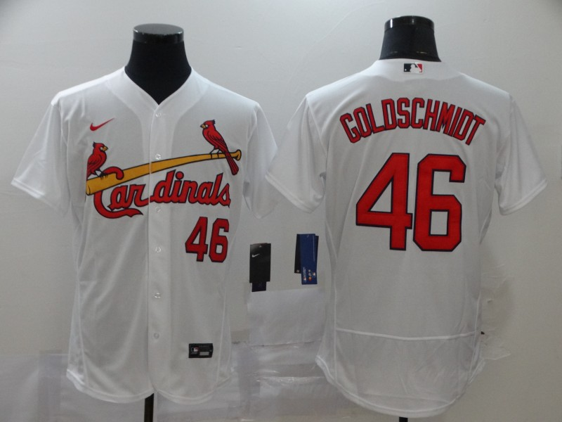Men's St. Louis Cardinals #46 Paul Goldschmidt White Stitched MLB Flex Base Nike Jersey