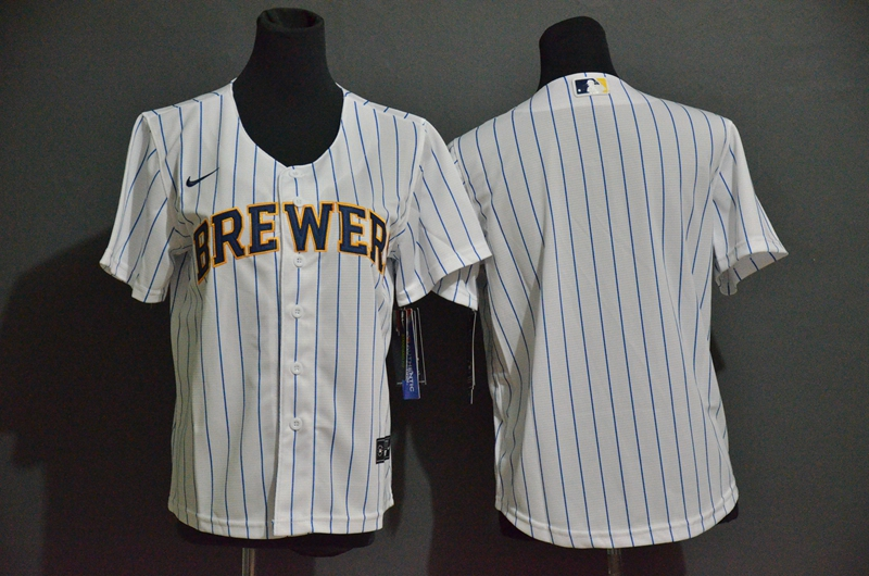 Youth Milwaukee Brewers Blank White Stitched MLB Cool Base Nike Jersey