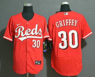 Men's Cincinnati Reds #30 Ken Griffey Jr Red Stitched MLB Flex Base Nike Jersey