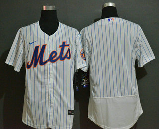 Men's New York Mets Blank White Stitched MLB Flex Base Nike Jersey