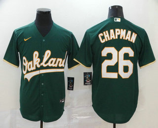 Men's Oakland Athletics #26 Matt Chapman Green Stitched MLB Cool Base Nike Jersey
