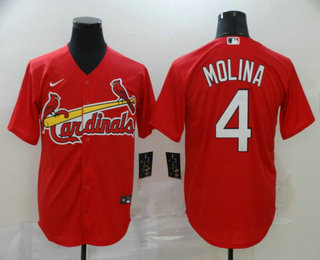 Men's St. Louis Cardinals #4 Yadier Molina Red Stitched MLB Cool Base Nike Jersey