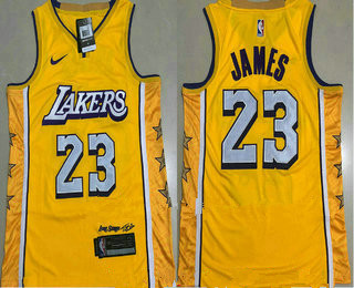 Men's Los Angeles Lakers #23 LeBron James Yellow 2020 Nike City Edition AU ALL Stitched Jersey