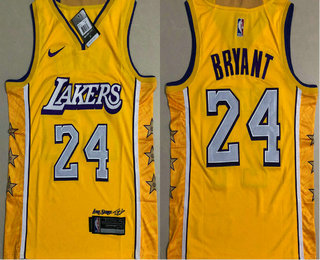 Men's Los Angeles Lakers #24 Kobe Bryant Yellow 2020 Nike City Edition AU ALL Stitched Jersey