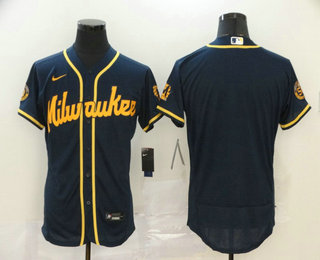 Men's Milwaukee Brewers Blank Navy Blue Stitched MLB Flex Base Nike Jersey