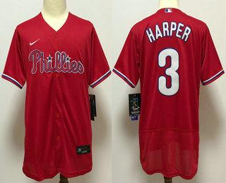 Men's Philadelphia Phillies #3 Bryce Harper Red Stitched MLB Flex Base Nike Jersey