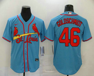 Men's St. Louis Cardinals #46 Paul Goldschmidt Light Blue Stitched MLB Cool Base Nike Jersey