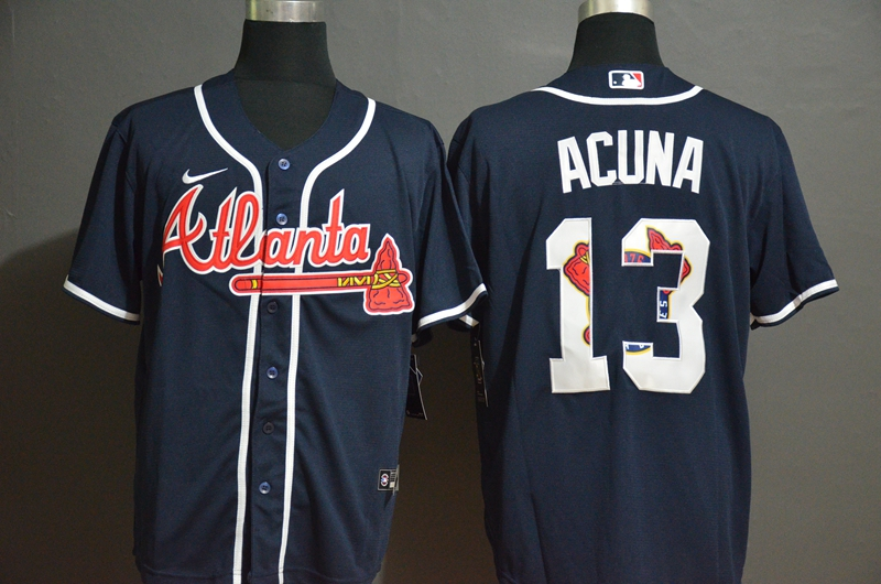 Men's Atlanta Braves #13 Ronald Acuna Jr. Navy Blue Team Logo Stitched MLB Cool Base Nike Jersey