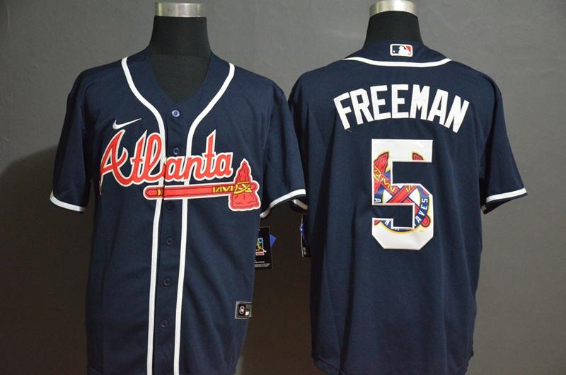 Men's Atlanta Braves #5 Freddie Freeman Navy Blue Team Logo Stitched MLB Cool Base Nike Jersey