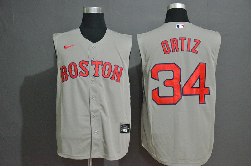 Men's Boston Red Sox #34 David Ortiz Grey 2020 Cool and Refreshing Sleeveless Fan Stitched MLB Nike Jersey
