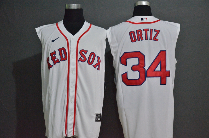 Men's Boston Red Sox #34 David Ortiz White 2020 Cool and Refreshing Sleeveless Fan Stitched MLB Nike Jersey