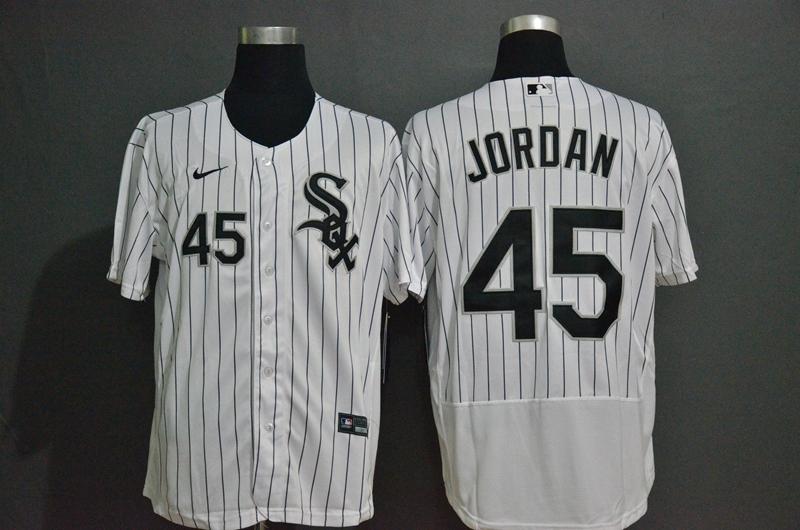 Men's Chicago White Sox #45 Michael Jordan White Pinstripe Stitched MLB Flex Base Nike Jersey