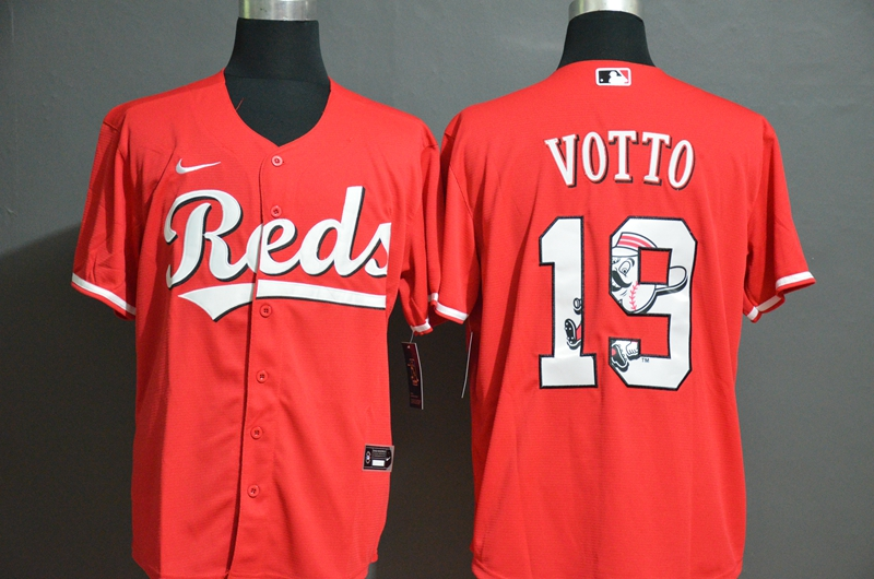 Men's Cincinnati Reds #19 Joey Votto Red Team Logo Stitched MLB Cool Base Nike Jersey
