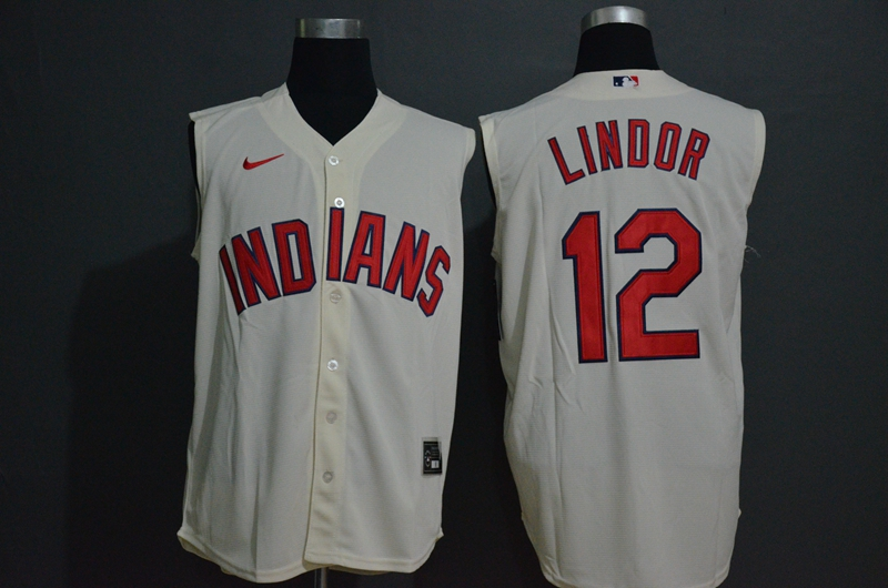 Men's Cleveland Indians #12 Francisco Lindor Cream 2020 Cool and Refreshing Sleeveless Fan Stitched MLB Nike Jersey