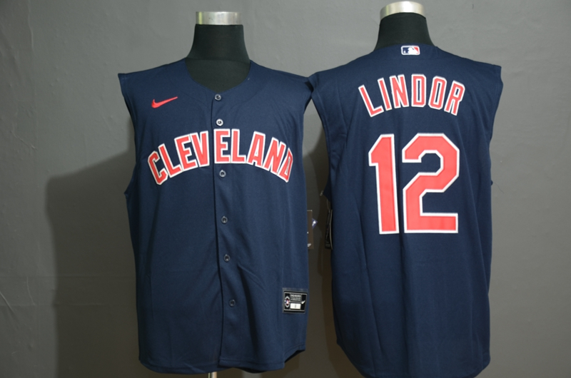 Men's Cleveland Indians #12 Francisco Lindor Navy Blue 2020 Cool and Refreshing Sleeveless Fan Stitched MLB Nike Jersey