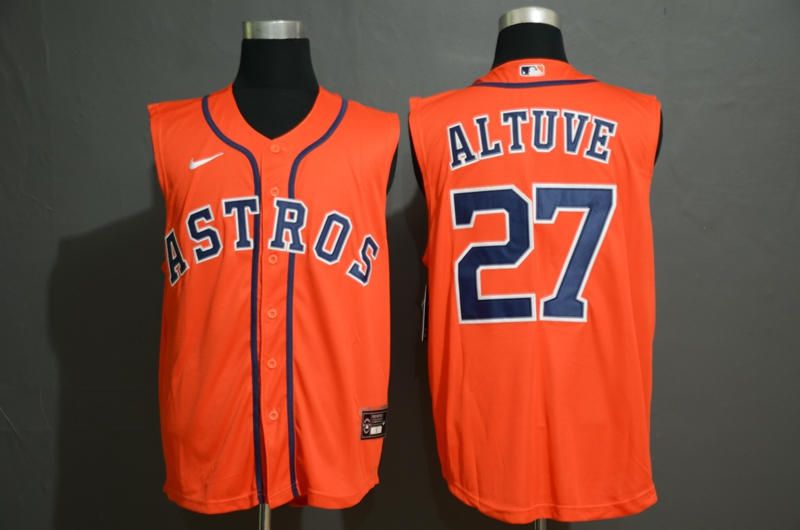 Men's Houston Astros #27 Jose Altuve Orange 2020 Cool and Refreshing Sleeveless Fan Stitched MLB Nike Jersey