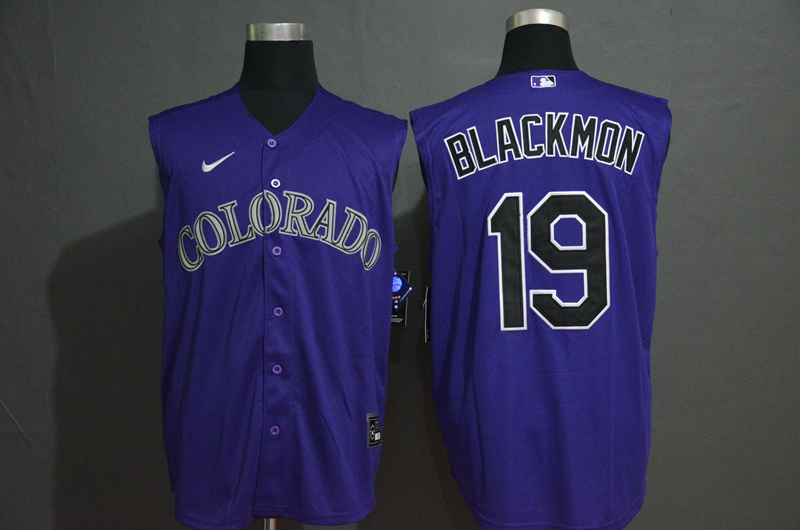 Men's Colorado Rockies #19 Charlie Blackmon Purple 2020 Cool and Refreshing Sleeveless Fan Stitched MLB Nike Jersey
