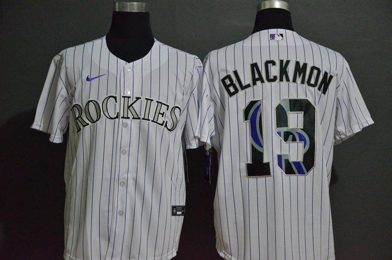 Men's Colorado Rockies #19 Charlie Blackmon White Team Logo Stitched MLB Cool Base Nike Jersey