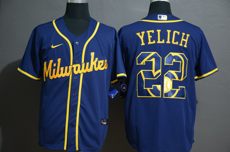 Men's Milwaukee Brewers #22 Christian Yelich Blue White Team Logo Stitched MLB Cool Base Nike Jersey