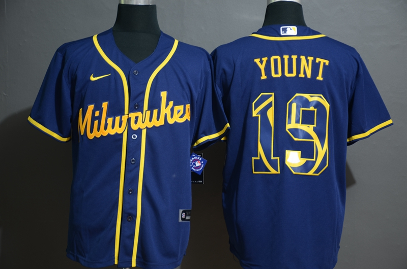 Men's Milwaukee Brewers #19 Robin Yount Blue White Team Logo Stitched MLB Cool Base Nike Jersey