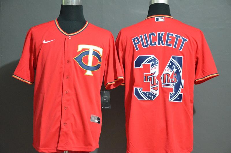 Men's Minnesota Twins #34 Kirby Puckett Red White Team Logo Stitched MLB Cool Base Nike Jersey