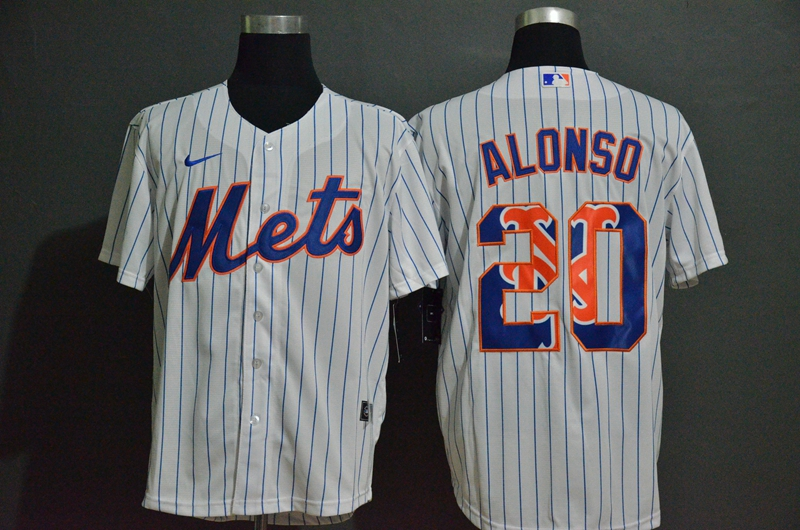 Men's New York Mets #20 Pete Alonso White Team Logo Stitched MLB Cool Base Nike Jersey