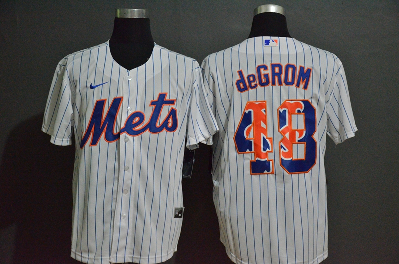 Men's New York Mets #48 Jacob deGrom White Team Logo Stitched MLB Cool Base Nike Jersey