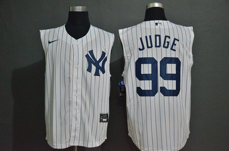 Men's New York Yankees #99 Aaron Judge White 2020 Cool and Refreshing Sleeveless Fan Stitched MLB Nike Jersey