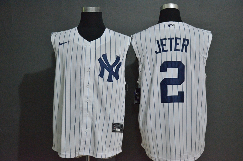 Men's New York Yankees #2 Derek Jeter White 2020 Cool and Refreshing Sleeveless Fan Stitched MLB Nike Jersey
